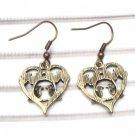 Antique Brass Bird Hook Earrings