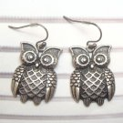 Silver Plated Antique Brass Owl Hook Earrings