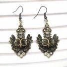Antique Brass Owl Hook Earrings