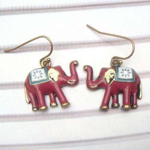 Antique Brass Elephant Hook Earrings
