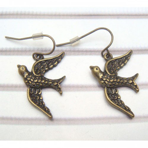 Antique Brass Swallow Hook Earrings