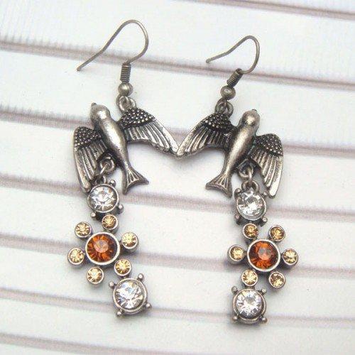 Silver Plated Antique Brass Swallow Hook Earrings