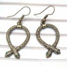 Antique Brass Swarovski Crystal Snake Hook Earrings