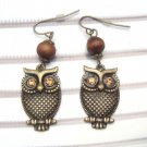 Antique Brass Swarovski Crystal Owl Hook Earrings
