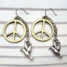 Antique Brass Peace Dove Hook Earrings