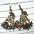 Antique Brass Swarovski Crystal Peacock Hook Earrings