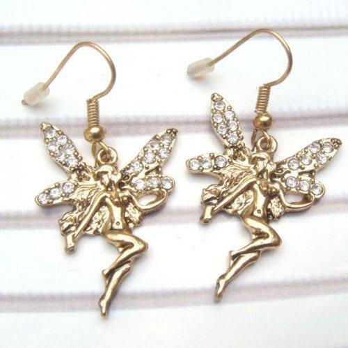 Antique Brass Swarovski Crystal Fairy Hook Earrings