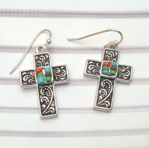 Silver Plated Brass Cross Hook Earrings