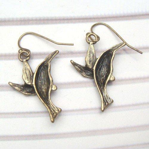 Swarovski Crystal Brass Bird Hook Earrings
