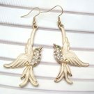 Swarovski Crystal Brass Bird Hook Earrings