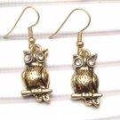 Pretty Swarovski Crystal Brass Owl Hook Earrings