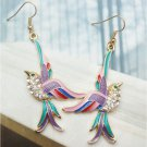 Swarovski Crystals Retro Copper Bird Hook Earrings Vintage Style