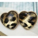 Elegant Retro Brass Heart design Ear Stud