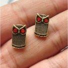 Elegant Brass Crystal Owl design Ear Stud