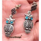 Elegant Silver Plated Crystal Owl design Ear Stud