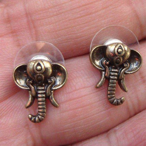 Elegant Brass Crystal Elephant design Ear Stud