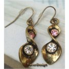 Pretty Swarovski Crystals Retro Copper Twist Hook Earrings Vintage