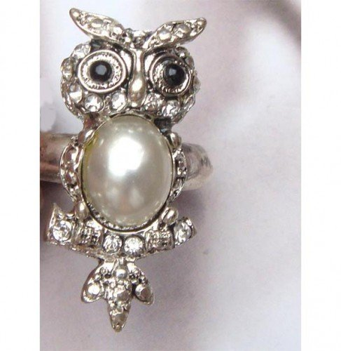 Size 6.3 Silver Plated Brass Owl Ring