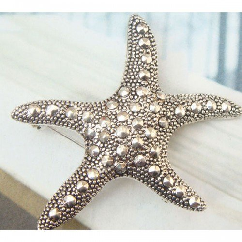 Silver Plated Retro Brass Seastar design Pin Brooch Vintage Style