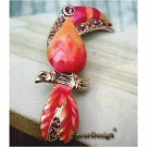 Elegant Silver Plated Parrot Crystal design Pin Brooch