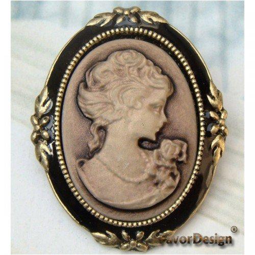 Elegant Retro Brass Beauty design Pin Brooch