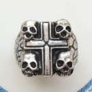 Size 10.2 Silver Plated Brass Cross Skull Ring