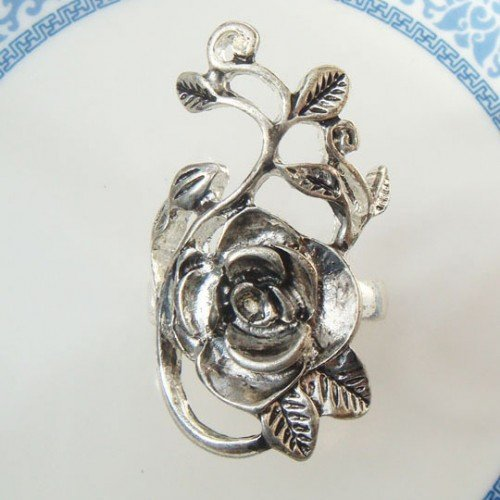 Size 10.5 Silver Plated Brass Flower Ring