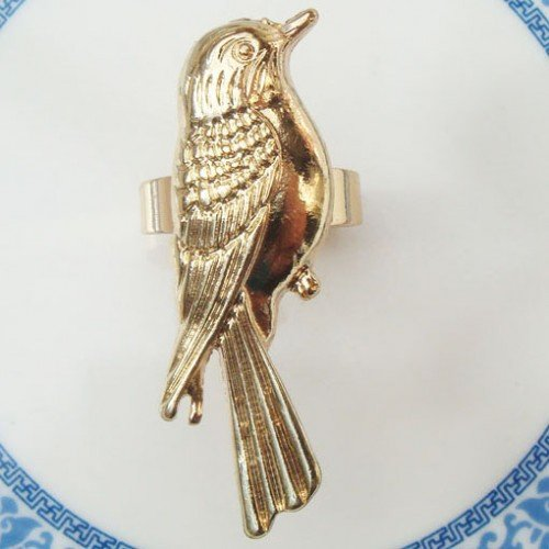 Adjustable Size Gold Plated Brass Bird Ring