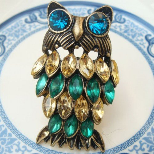 Adjustable Size Brass Owl Ring