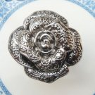 Size 6.6 Silver Plated Antique Brass Flower Ring