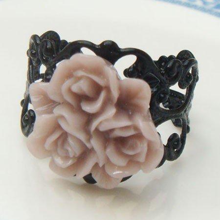 Adjustable Size Brass Brown Resin Flower Ring