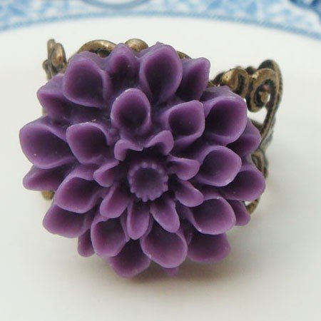 Adjustable Size Brass Purple Resin Flower Ring