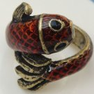 Size 7.0 Retro Brass Fish Ring Vintage Style