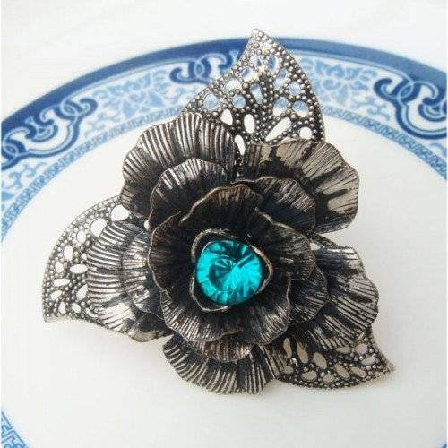 Size 7.5 Silver Plated Brass Flower Ring