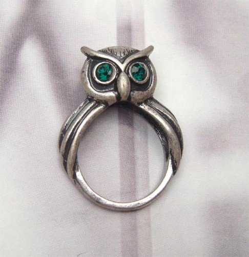 Size 6.6 Silver Plated Antique Brass Peacock Ring