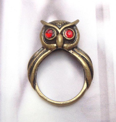 Size 6.6 Antique Brass Owl Ring