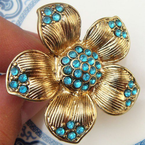 Adjustable Size 7.2-8.2 Antique Brass Flower Ring