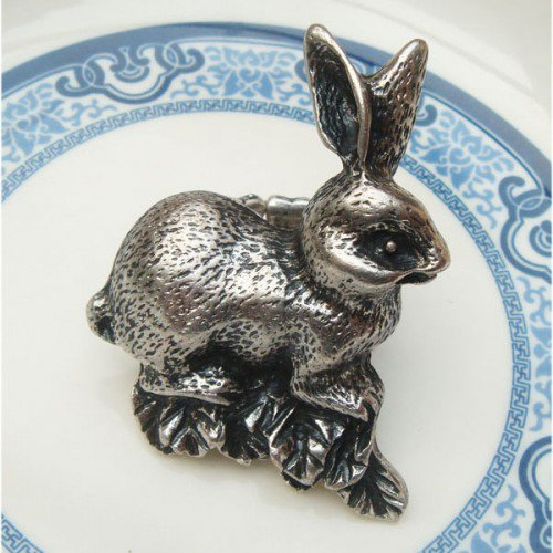 Stretchable Size Silver Plated Antique Brass Rabbit Ring