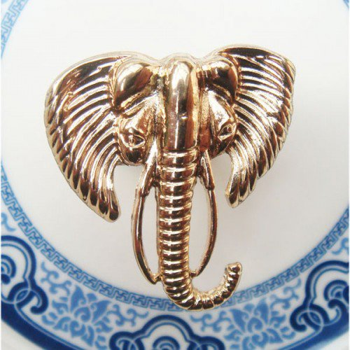 Size 6.8 Antique Brass Elephant Ring