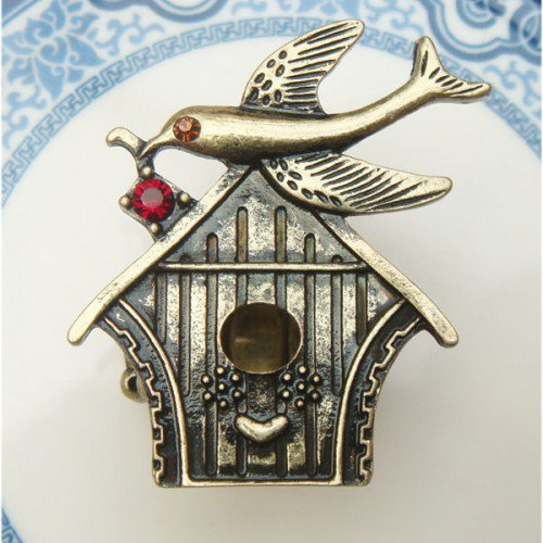 Stretchable Size Antique Brass Bird Ring