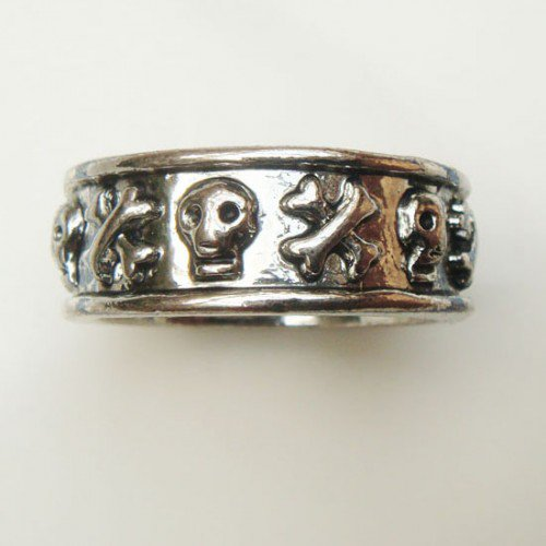 Size 8.4 Silver Plated Antique Brass Danger Skull Ring