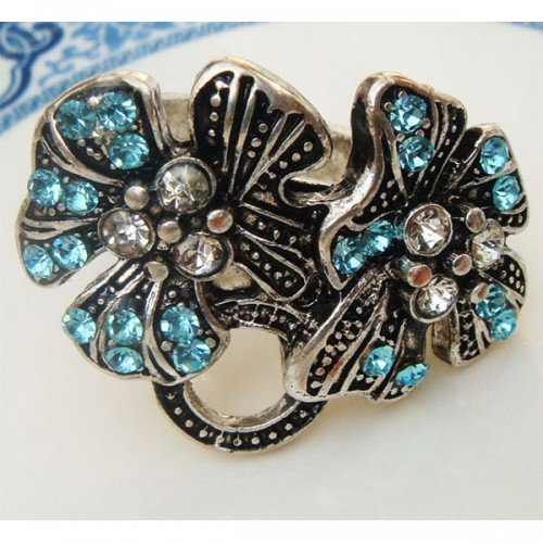 Size 7.3 Silver Plated Antique Brass Flower Ring