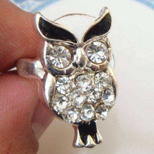 Size 6.3 Silver Plated Antique Brass Owl Ring