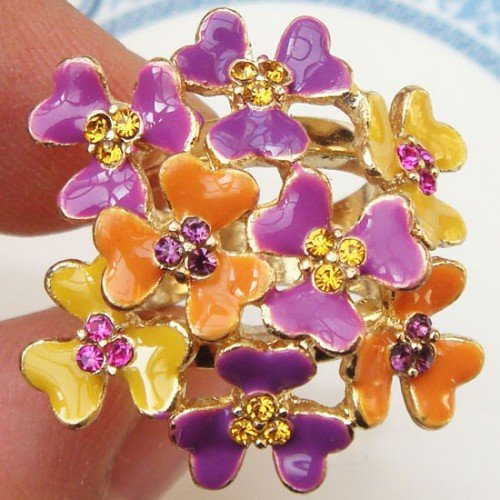 Size 4.8 Antique Brass Flower Ring