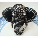 Size 6.6 Silver Plated Antique Brass Elephant Ring