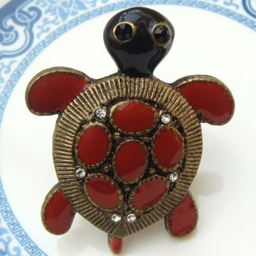 Size 7.5 Antique Brass Turtle Ring