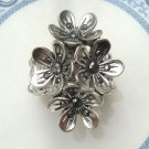Stretchable Size Silver Plated Antique Brass Crystal Flower Ring