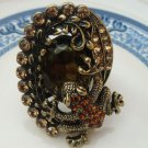 Size 6.3 Antique Brass Crystal Frog Ring
