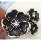 Size 7.6 Silver Plated Antique Brass Flower Ring