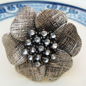 Size 8.3 Silver Plated Antique Brass Flower Ring